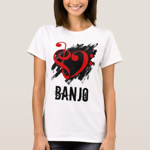 Treble Clef Bass Clef Red Heart over Grunge Brush Strokes Banjo T-Shirt