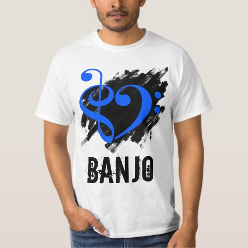 Treble Clef Bass Clef Royal Blue Heart over Grunge Brush Strokes Banjo T-Shirt