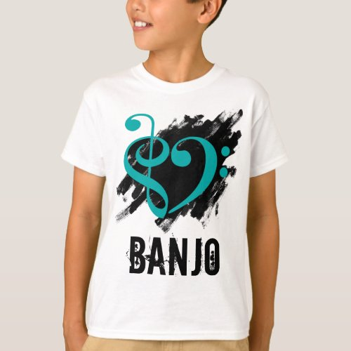 Treble Clef Bass Clef Turquoise Heart over Grunge Brush Strokes Banjo T-Shirt