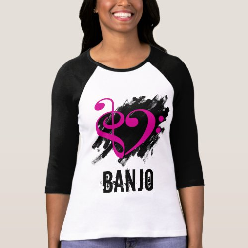 Treble Clef Bass Clef Fuchsia Heart Over Grunge Brush Strokes Banjo T-Shirt