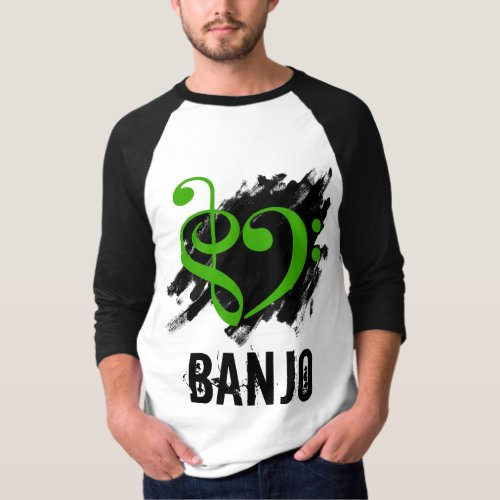 Treble Clef Bass Clef Green Heart over Grunge Brush Strokes Banjo T-Shirt