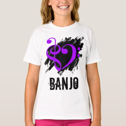 Treble Clef Bass Clef Purple Heart over Grunge Brush Strokes Banjo T-Shirt