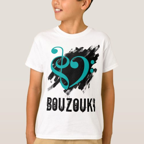 Treble Clef Bass Clef Turquoise Heart over Grunge Brush Strokes Bouzouki T-Shirt