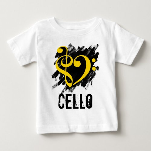 Treble Clef Bass Clef Yellow Heart over Grunge Brush Strokes Cello Baby Jersey T-Shirt