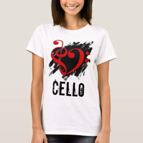 Treble Clef Bass Clef Red Heart over Grunge Brush Strokes Cello T-Shirt