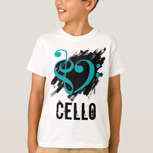 Treble Clef Bass Clef Turquoise Heart over Grunge Brush Strokes Cello T-Shirt