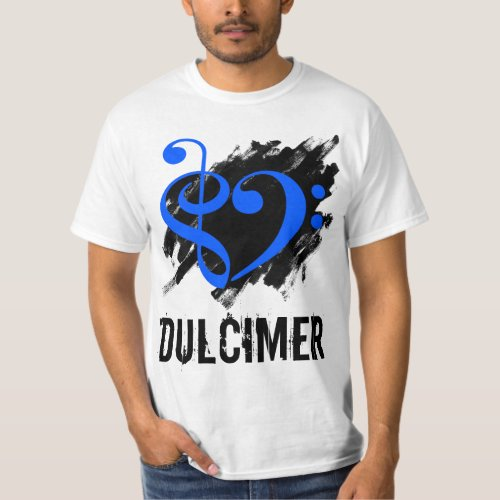 Treble Clef Bass Clef Royal Blue Heart over Grunge Brush Strokes Dulcimer T-Shirt