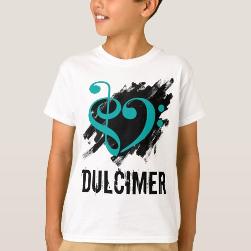 Treble Clef Bass Clef Turquoise Heart over Grunge Brush Strokes Dulcimer T-Shirt