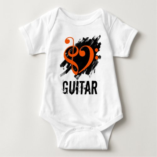 Treble Clef Bass Clef Orange Heart over Grunge Brush Strokes Guitar Baby Jersey Bodysuit