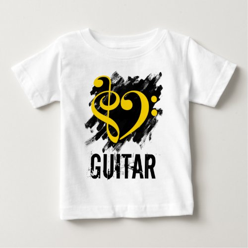 Treble Clef Bass Clef Yellow Heart over Grunge Brush Strokes Guitar Baby Jersey T-Shirt