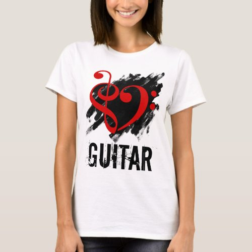 Treble Clef Bass Clef Red Heart over Grunge Brush Strokes Guitar T-Shirt