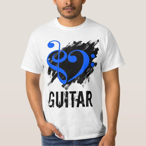 Treble Clef Bass Clef Royal Blue Heart over Grunge Brush Strokes Guitar T-Shirt
