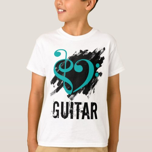 Treble Clef Bass Clef Turquoise Heart over Grunge Brush Strokes Guitar T-Shirt