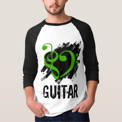 Treble Clef Bass Clef Green Heart Over Grunge Brush Strokes Guitar T-Shirt