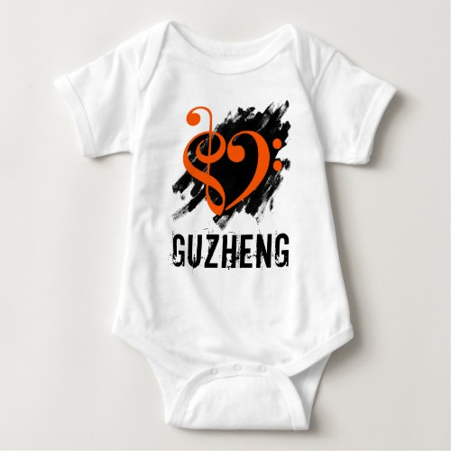 Treble Clef Bass Clef Orange Heart over Grunge Brush Strokes Guzheng Chinese Zither Baby Jersey Bodysuit