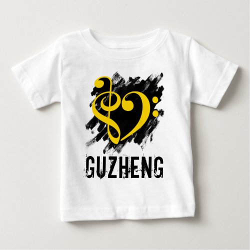 Treble Clef Bass Clef Yellow Heart over Grunge Brush Strokes Guzheng Chinese Zither Baby Jersey T-Shirt
