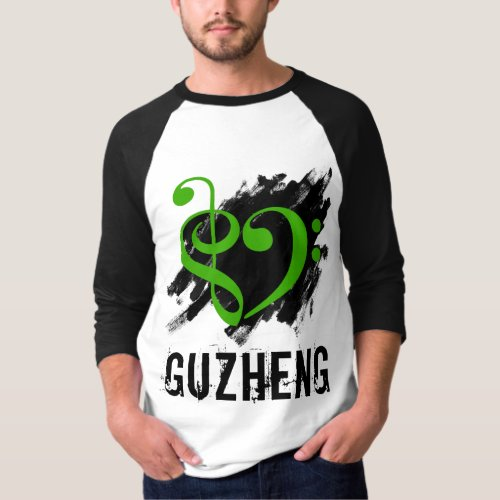 Treble Clef Bass Clef Green Heart Over Grunge Brush Strokes Guzheng T-Shirt
