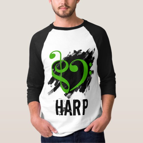 Treble Clef Bass Clef Green Heart Over Grunge Brush Strokes Harp T-Shirt