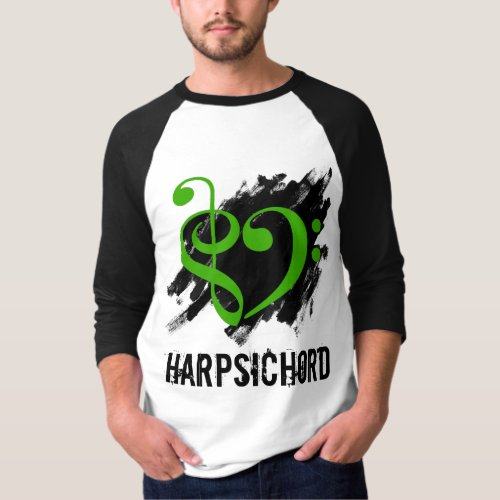 Treble Clef Bass Clef Green Heart Over Grunge Brush Strokes Harpsichord T-Shirt