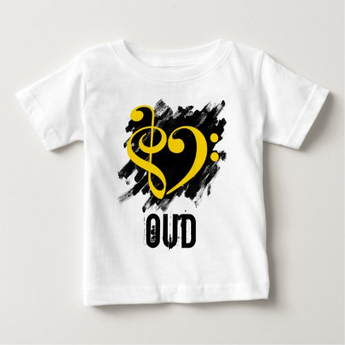 Treble Clef Bass Clef Yellow Heart over Grunge Brush Strokes Oud Baby Jersey T-Shirt