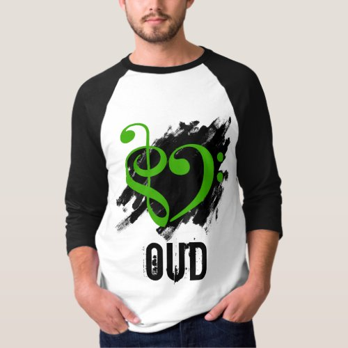 Treble Clef Bass Clef Green Heart Over Grunge Brush Strokes Oud T-Shirt