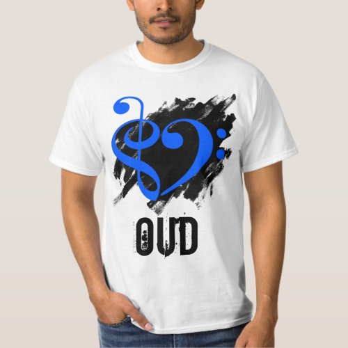 Treble Clef Bass Clef Royal Blue Heart over Grunge Brush Strokes Oud T-Shirt