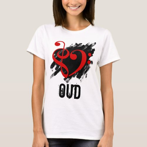 Treble Clef Bass Clef Red Heart over Grunge Brush Strokes Oud T-Shirt
