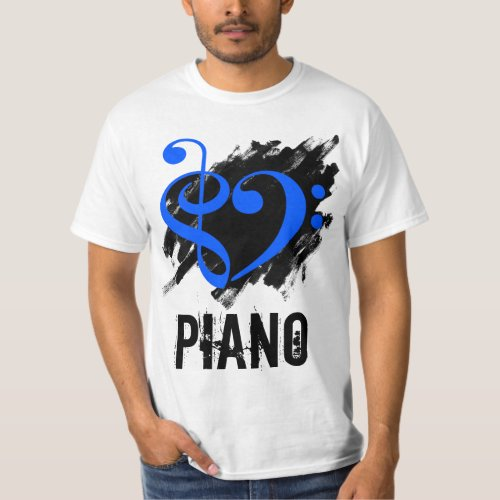 Treble Clef Bass Clef Royal Blue Heart over Grunge Brush Strokes Piano T-Shirt