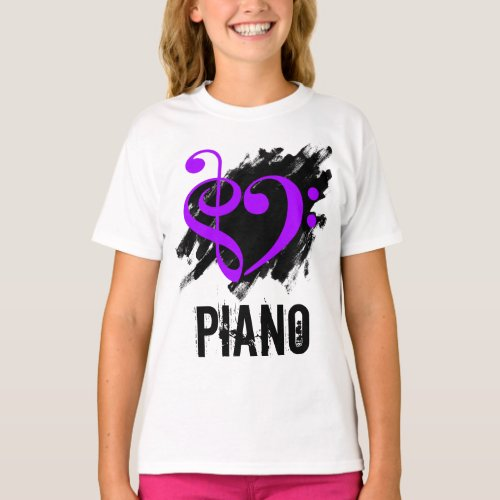 Treble Clef Bass Clef Purple Heart over Grunge Brush Strokes Piano T-Shirt