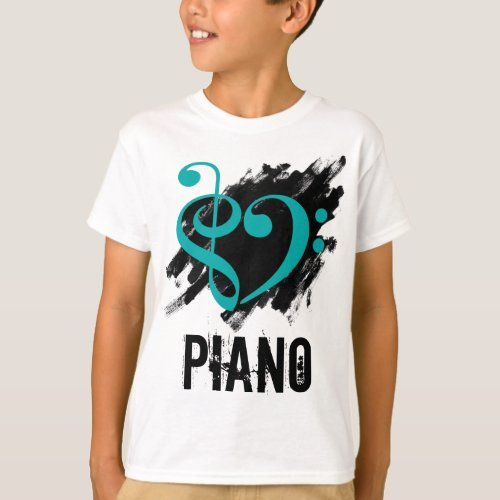 Treble Clef Bass Clef Turquoise Heart over Grunge Brush Strokes Piano T-Shirt