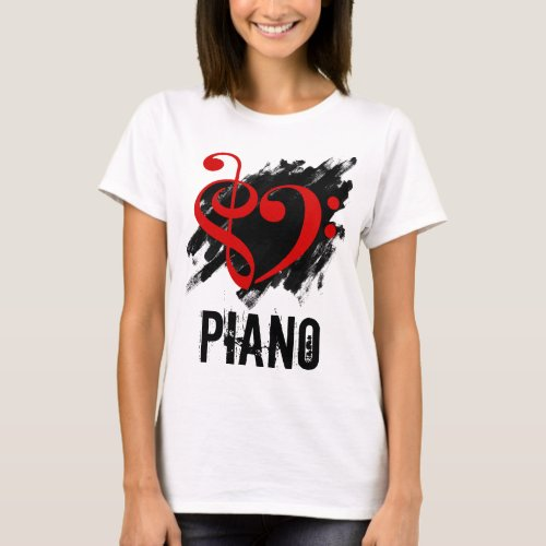 Treble Clef Bass Clef Red Heart over Grunge Brush Strokes Piano T-Shirt