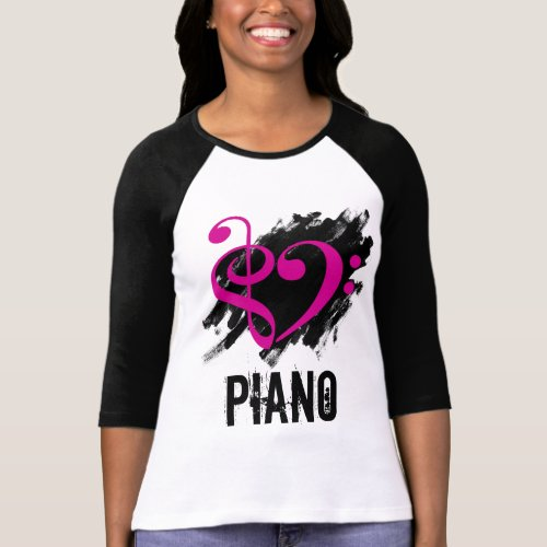 Treble Clef Bass Clef Fuchsia Heart Over Grunge Brush Strokes Piano T-Shirt