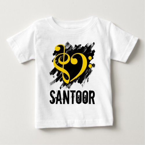 Treble Clef Bass Clef Yellow Heart over Grunge Brush Strokes Santoor Baby Jersey T-Shirt