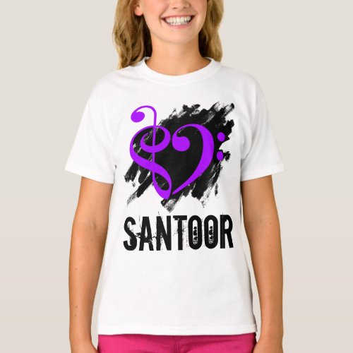 Treble Clef Bass Clef Purple Heart over Grunge Brush Strokes Santoor T-Shirt