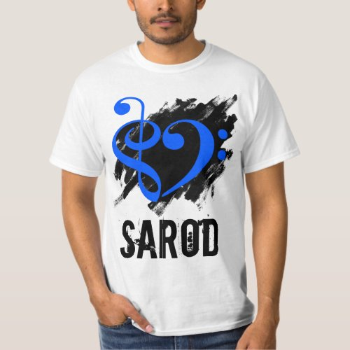 Treble Clef Bass Clef Royal Blue Heart over Grunge Brush Strokes Sarod T-Shirt