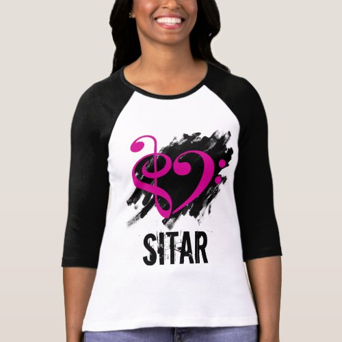 Treble Clef Bass Clef Fuchsia Heart Over Grunge Brush Strokes Sitar T-Shirt