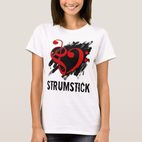 Treble Clef Bass Clef Red Heart over Grunge Brush Strokes Strumstick T-Shirt