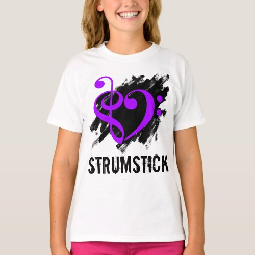 Treble Clef Bass Clef Purple Heart over Grunge Brush Strokes Strumstick T-Shirt