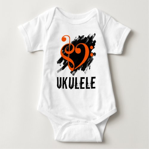 Treble Clef Bass Clef Orange Heart over Grunge Brush Strokes Ukulele Baby Jersey Bodysuit