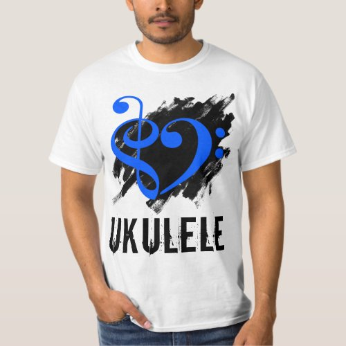 Treble Clef Bass Clef Royal Blue Heart over Grunge Brush Strokes Ukulele T-Shirt