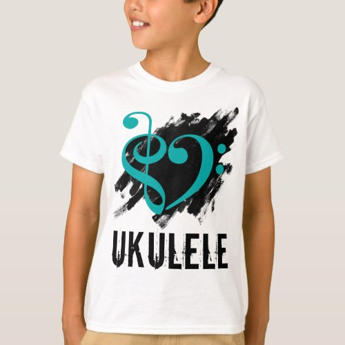 Treble Clef Bass Clef Turquoise Heart over Grunge Brush Strokes Ukulele T-Shirt