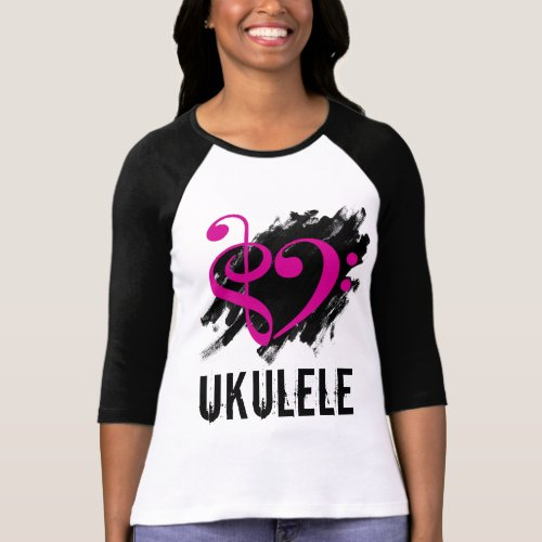 Treble Clef Bass Clef Fuchsia Heart Over Grunge Brush Strokes Ukulele T-Shirt