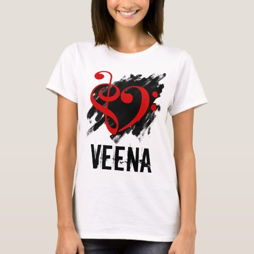 Treble Clef Bass Clef Red Heart over Grunge Brush Strokes Veena T-Shirt