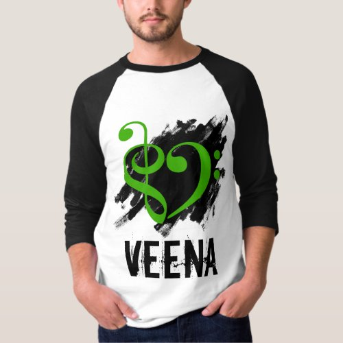Treble Clef Bass Clef Green Heart Over Grunge Brush Strokes Veena T-Shirt