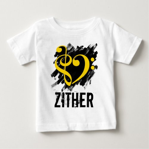 Treble Clef Bass Clef Yellow Heart over Grunge Brush Strokes Zither Baby Jersey T-Shirt