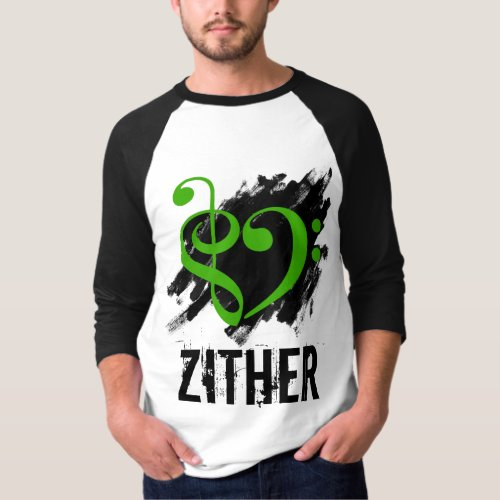 Treble Clef Bass Clef Green Heart Over Grunge Brush Strokes Zither T-Shirt