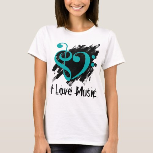 Treble and Bass Clef Turquoise Heart Over Grunge I Love Music Bassist T-Shirt