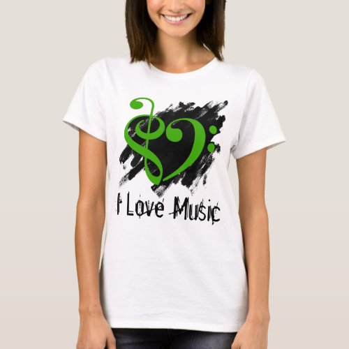 Treble and Bass Clef Kelly Green Heart Over Grunge I Love Music Bassist T-Shirt