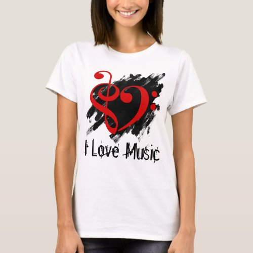 Treble and Bass Clef Valentine Red Heart Over Grunge I Love Music Bassist T-Shirt