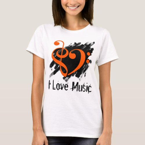 Treble and Bass Clef Orange Heart Over Grunge I Love Music Bassist T-Shirt